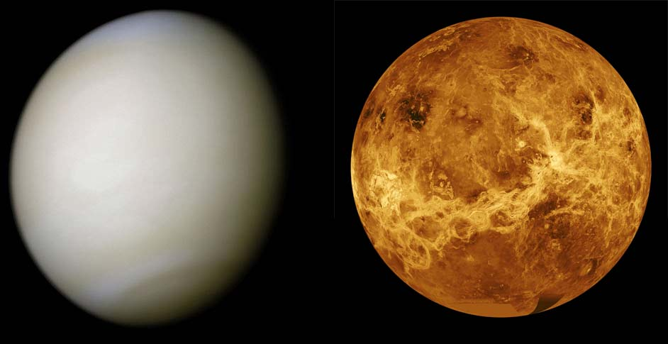 Venus, clouded (left) and surface radar view (right)