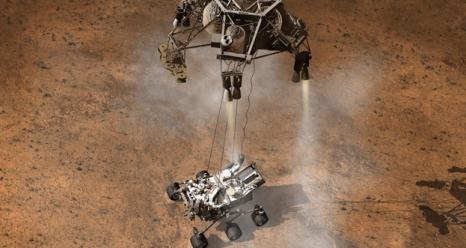 Mars Curiosity Landing on the Martian Surface