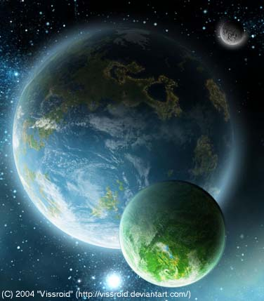 Artist Concept of an Earth Like Planet with a Moon