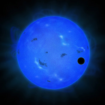 Artists Concept of The Transit of GJ 1214b in Blue Light